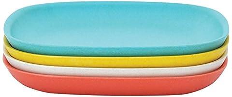 Biobu by Ekobo 34659Gusto Lot d'assiettes plates (modèle 2), kaki/blanc/bleu lagon/jaune citron