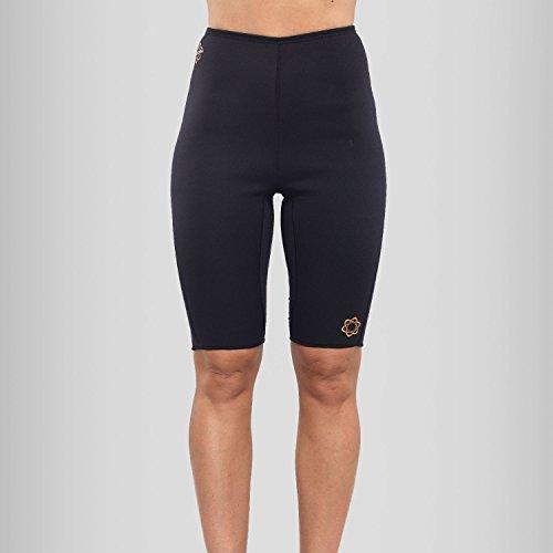 Zaggora-Pantaloncini da allenamento, da donna, con fascia, colore: nero, (Thermo Fat Burner)