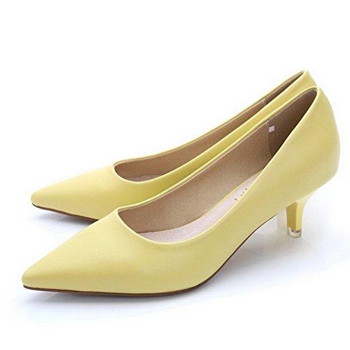 AalarDom Femme Couleur Unie à Talon Correct Tire Pointu Chaussures Légeres Jaune-Pu Cuir