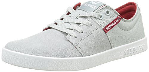 Supra Stacks II, Sneakers Basses Homme Grau (LIGHT GREY / RED - WHITE 040)