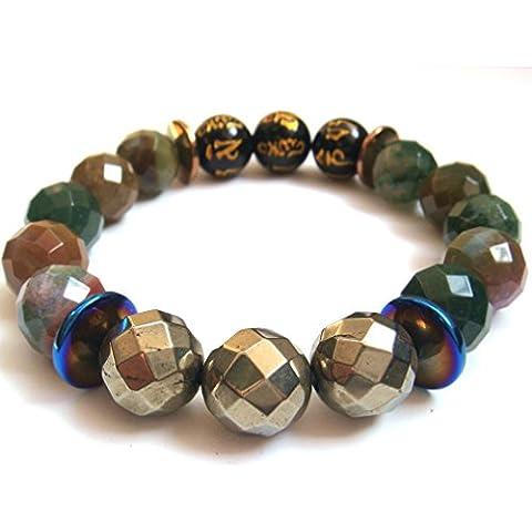 Naturale sfaccettato India agata tibetano 6parole preghiera Pirite pietra braccialetto di energia amuleto Confezione Regalo