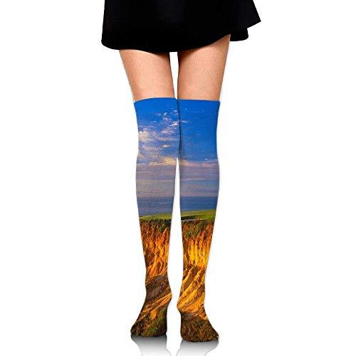 tianjianzulinyouxiangongsi Beach Cliff Blue Sky Leisure Crew Top Socks,Tube Over Knee Nursing Compression Long Socks,3D Printed Sports for Girls&Women 50CM -