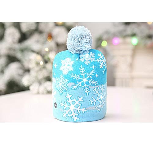 Haobeii Weihnachtsdekoration Gestrickte LED Licht Kappe Weihnachtsbaum Schneemann Erwachsenen Kind Hut Außenhandel Heißer ()