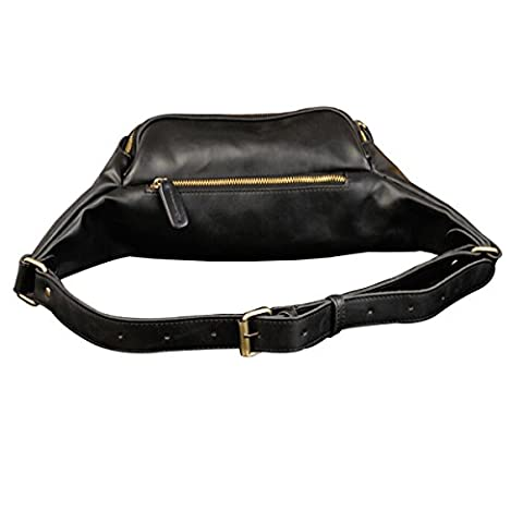 Nasis Herren Vintage PU Leder Bauchtasche Hüftentasche Hüftebeutel Alltagtasche AY4031 (schwarz)