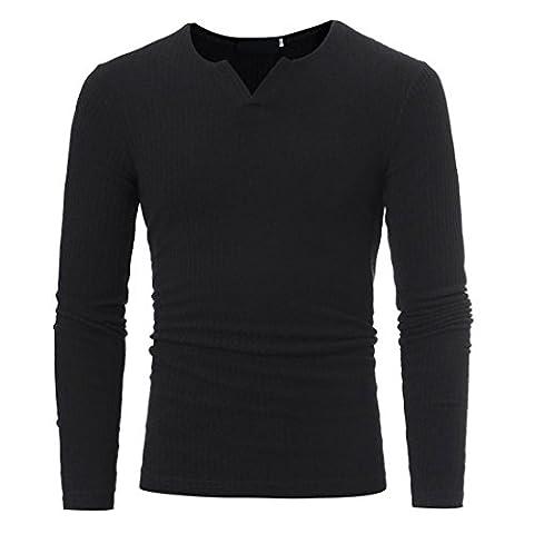 Toamen Homme Automne Hiver T-shirt Col V Manches longues Melange de coton Uni Tops (XXXL, Noir)
