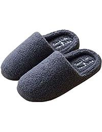 qiansu Donna Pantofole Camera da Letto Comode Peluche Cotone Pantofole  Calde Pantofole Ultra-Morbido Pantofole Coppie Pantofole… 9b0b75c0b7e