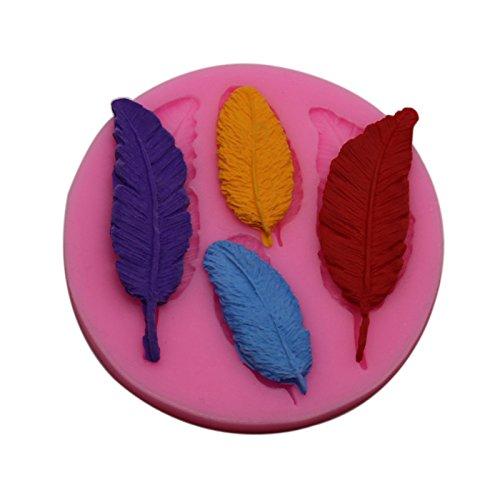 Fondant Schimmel Backenwerkzeuge Flüssigkeit mit hoher Temperatur 4 Stück Feder Kuchenform, Rosa