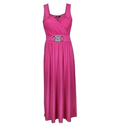 Damen Ärmellos Vordere Schnalle Raffhalter Maxi Kleid Damen Cocktailkleid 8-26 Kirschrosa - Hot Pink - Clubbing Clubwear