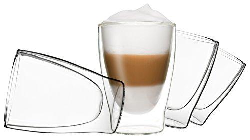 DUOS 4X 310ml doppelwandige Gläser Latte Macchiato Thermogläser - Set mit Schwebe-Effekt, auch für Tee, Eistee, Säfte, Wasser, Cola, Cocktails geeignet, by Feelino