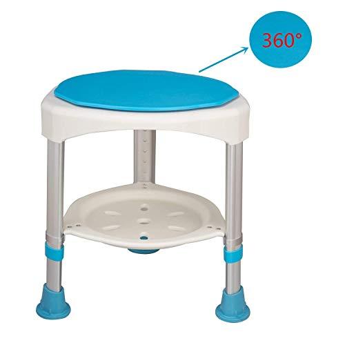 AUFUN Duschhocker Duschstuhl 45-57cm Höhenverstellbar und 360° Drehbar Badsitz Blau Duschhilfe Anti-Rutsch Badsitz aus Alu und Kunststoff für Alter, Schwangere