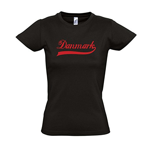 Damen T-Shirt – Dänemark Oldschool Danmark LÄNDERSHIRT EM / WM FAN Trikot S-XXL , Deep black – rot , S