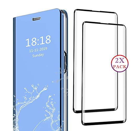 DAYNEW für Samsung Galaxy A8s Panzerglas und Hülle Combo Set,Ultra-klar 9H Schutzfolie,ultradünnen Spiegel Flip Case Cover,Darunter 1 Blau Schutzhülle und 3 Schwarze Panzerglasfolie.