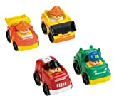 Fisher-Price–V1625–Fahrzeug Miniatur–Pack 4Fahrzeuge Wheelies Little People–Thema Klassische