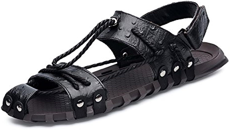 Yao Zapatillas de Playa de Cuero, Adujstable Cinturón de cáñamo Genuino Ocasional Cuerda Antideslizante Suave...