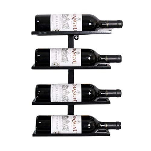 BAIJJ Eisen an der Wand befestigter Weinflaschen-Gestell-Ausstellungsstand, hängender Weinhalter-Speicher-Regal-Innendekorationen (Größe: 4 Flaschen) - 4 Regal-speicher-speisekammer