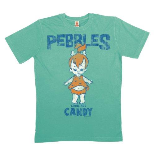 Logoshirt - Flinstone T-Shirt Bio Baumwolle - Pebbles - Familie Feuerstein - türkis - Linzenziertes Originaldesign, Größe XL
