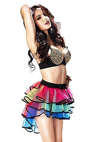 Babyonline® Damen Regenbogen Röckchen krasse Tütü Cosplay Karnevalskostüm Tüllrock Partykleid Rock Tüll (Region 10 Kostüm)