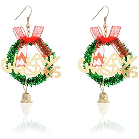 Lureme® Natale Retro Carina Stile Merry Natale Words with Jingle Bells Hook Earring (02004731)
