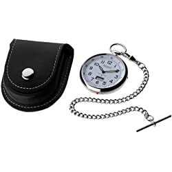 Radio Controlled Pocket Watch Chrome with White Open Face
