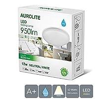 AUROLITE LED 12W IP44, Ø 26cm, 950LM, Bathroom, Kitchen, Hallway, Office, Corridor, Flush, Bath Ceiling Light, High Quality, 1 Year Warranty (4000K), 12 W