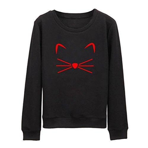 NiSeng Femmes Manche Longue Sweatshirt Mignonne Chat Patter Impression Col Rond Pullover Blouse Pulls Noir&Rouge