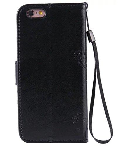 """Nnopbeclik®[Coque Iphone 6 silicone / Coque Iphone 6S silicone] Wallet/Protable en Bonne Qualité PU Cuir Housse pour Iphone 6 Coque silicone / Iphone 6S Coque silicone (4.7 Pouce) """"Chat et Arbre Papil noir"""