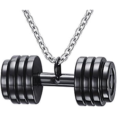LianDuo Acciaio inossidabile manubri bilanciere della collana del pendente Gym Fitness monili delle donne,la catena libera maschile