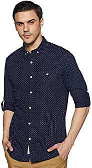 Amazon Brand - House & Shields Men's Printed Slim Fit Full Sleeve Cotton Casu