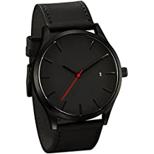 Longra☀☀Reloj de moda para hombre, popular de bajo nivel de lujo militar de cuarzo deportivo reloj de dial de pulsera (A, A)