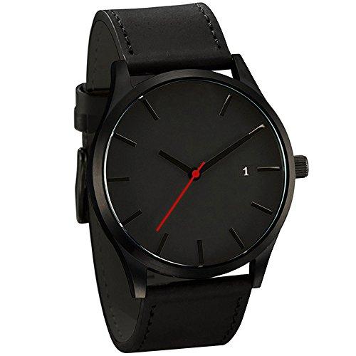 BOBOLover Popular Discreto Minimalista Connotación Cuero de la PU Hombres Cuarzo Reloj (Negro+Negro)