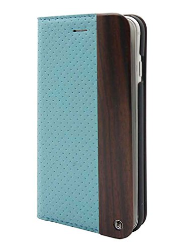Uunique Coque iPhone 6-Mode 11,9cm Aqua en bois perforé Folio