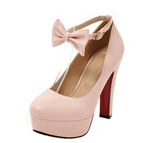 Schleife Rosa Schuhe Heel Pumps Plateau Abend Elegant AIYOUMEI Damen mit  Blockabsatz Riemchen High I7CUwCq ... be5a20a7f3