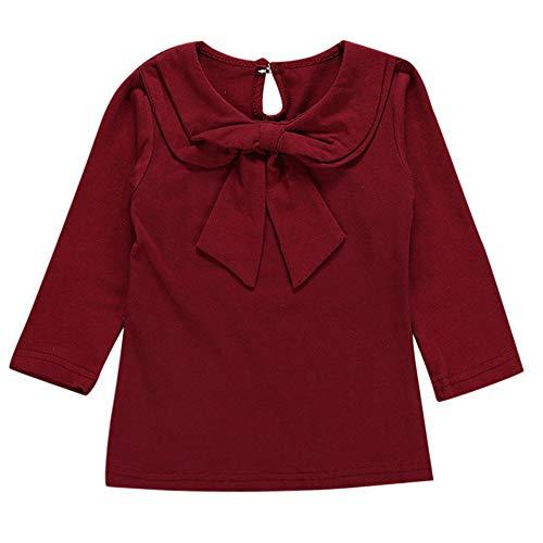 Kobay Babykleidung Mädchen Winter Langarm Peter Pan Kragen Solide Bowknot Tops Kleidung(6-12M,Wein)