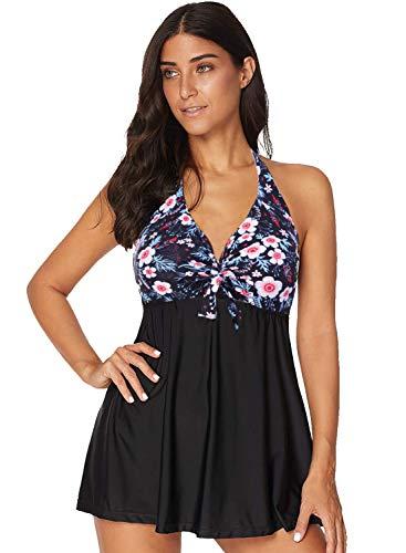 AMAGGIGO Damen Neckholder Push Up Badekleid Figurformender Badeanzug mit Röckchen Bauchweg Einteiliger Badekleid (EU 44-46, Blume)