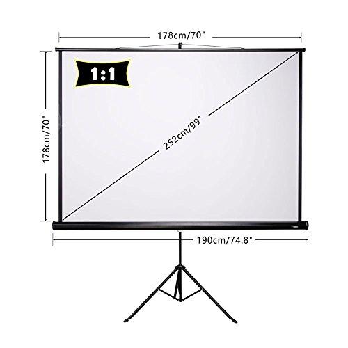 CCLIFE Beamer Leinwand Stativ – Format 1:1, Größe:178 x 178 cm - 6