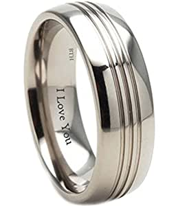 Mens Titanium Ring - 8mm Wide - Engraved Inside With I Love You Classic Unisex Wedding Engagement Comfort Fit Jewellery Band Ring- Size L (Available in Most Sizes )