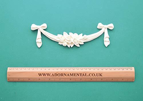 Medium Rose Cluster & Bow Drop Swag Applique Moulding -