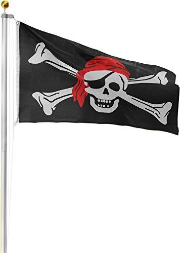 normani Aluminium Fahnenmast 6,20 6,80 oder 7,50 m Höhe inklusive Piratenflagge Totenkopf Fahne (90 x 150 cm) Farbe Totenkopf mit Bandana Größe 6.80 Meter