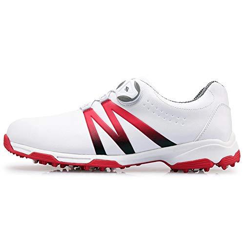 footjoy boa PGM Herren Golfschuhe aus weichem Leder, ultraleichte, wasserdichte und atmungsaktive Turnschuhe mit BOA-Schnürsystem,Red,UK6.5/EU40
