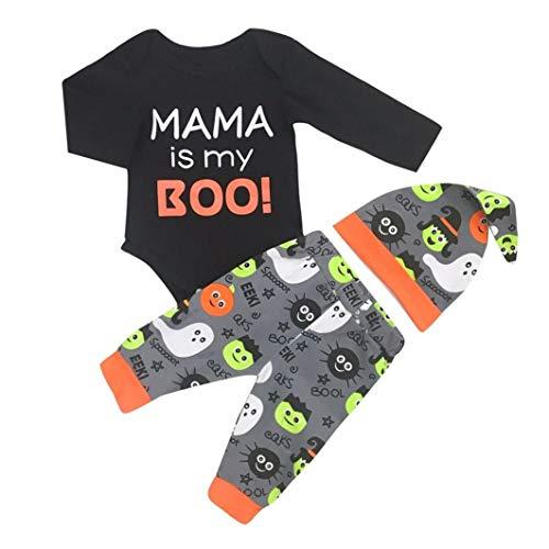 SuperSU 3PCS Halloween Kinder Mädchen Baby Brief Print Lange Ärmel Strampler Overall + Cartoon Print Hosen + Hut Set Outfit Geschenk für Kinder Spielanzug Set Taufkleid Pyjama Outfits