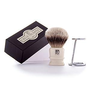 Geo F Trumper Simulated Ivory Super Badger Hair Shaving Brush & Chrome Stand