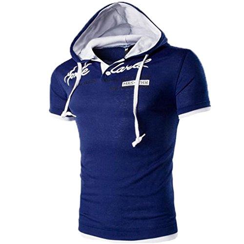 Hooded Shirt Herren Btruely Mit Kapuze Kurzarmshirt Slim Fit T-shirt Sports Top Männer Freizeit Hemd (XXXL, A) (Golf Shirt Hoffe,)