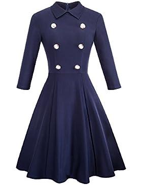 HOMEYEE - Vestito svasato da donna con risvolto stile vintage a risvolto 3/4 a manica A070