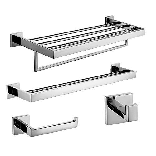 xiaofengliustore Bathroom Accessories :Bad Zubehör-Set Moderne Edelstahl 4pcs - Hotelbad Turm Bar Kleiderhaken Toilettenpapierhalter:Nickel -