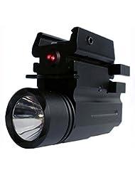 MAYMOC Laser rojo de 200 lúmenes XPG R5 Airsoft linterna con Weaver de liberación rápido montaje con función de luz estroboscópica para Airsoft/montaje táctico linterna antorcha Una oficina con soporte estable 20MM