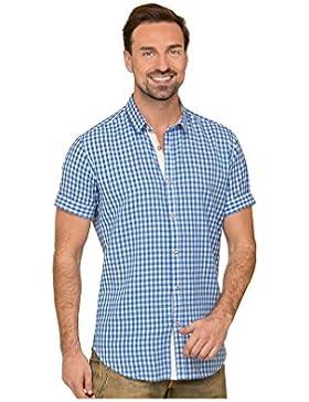 Michaelax-Fashion-Trade Stockerpoint - Herren Kurzarm Trachtenhemd in Rot und Blau, Connor