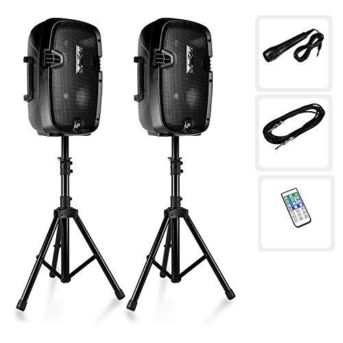 Par de Altavoces PA con Bluetooth, pie de Altavoces micrófono y Mando...