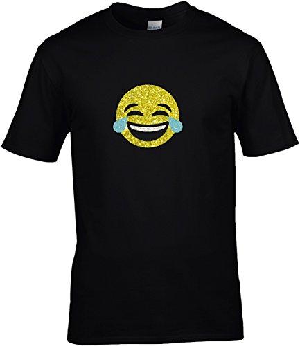 Shirt Karneval Herren Gruppen GLITZERDRUCK Fasching Junggesellenabschied Emoji Kostüm Emoticon Smiley glücklich und fröhlich mit Tränen vor Lachen, 5XL