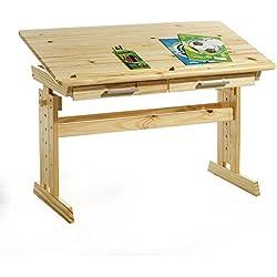 IDIMEX Bureau Enfant écolier Junior Olivia Table à Dessin réglable en Hauteur et pupitre inclinable avec 2 tiroirs en pin Massif Vernis Naturel