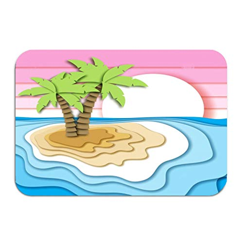 Yuerb Carpet Rug Door Mat Summer Vacation Concept Tropical Island Sand Beach Sea Ocean Waves Sunset Sky Paper Cut Out Style Pretty 16 * 24 inch